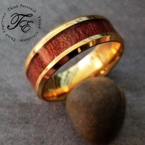 Men's Wood Inlay Wedding Band or Promise ring